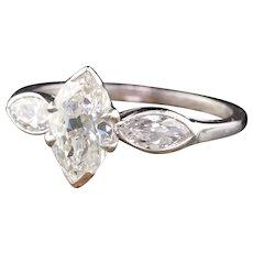 Art Deco Platinum & Marquise Diamond Engagement Ring
