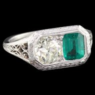 Art Deco Platinum Colombian Emerald & Diamond Engagement Ring