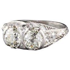 Antique Edwardian Platinum Diamond 2-Stone Engagement Ring