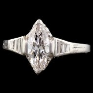 Art Deco Platinum Marquise Diamond Engagement Ring