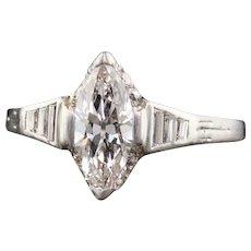 Art Deco Platinum Marquise Diamond Engagement Ring