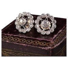 Antique Victorian 14K Yellow Gold Platinum Top Old Cut Diamond Earrings