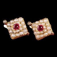 Antique Art Deco 18K Yellow Gold Seed Pearl Ruby Diamond Earrings