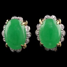 Vintage Estate 14K Yellow Gold Cabochon Jade and Diamond Earrings