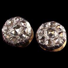 Antique Victorian 18K Yellow Gold Silver Top Rose Cut Diamond Earrings
