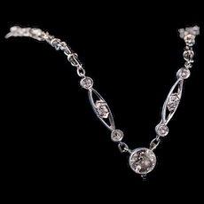 Antique Art Deco Platinum Old European Diamond Necklace