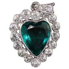 Antique Art Deco Platinum Old European Diamond Heart Pendant