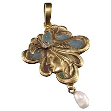Antique Art Nouveau Plique a Jour 14K Yellow Gold Diamond Pearl Enamel Pendant
