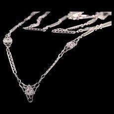 Antique Art Deco Platinum Single Cut Diamond Filigree Necklace