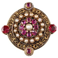 Antique Victorian 18K Yellow Gold Black Enamel Ruby Pearl Diamond Pin