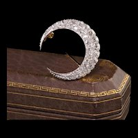Antique Victorian 18K Yellow Gold and Platinum Old Mine Diamond Crescent Pin