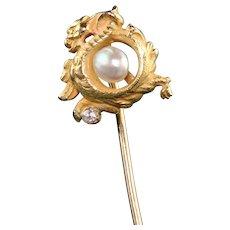 Antique Victorian 18K Yellow Gold Old Mine Cut Diamond Pearl Griffin Stickpin