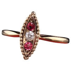 Antique Victorian 10K Rose Gold Diamond and Ruby Navette Ring