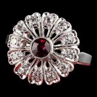 Antique Art Deco Platinum Diamond and Ruby Engagemnt Ring