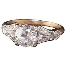 Antique Art Deco Platinum and Yellow Gold Diamond Engagement Ring