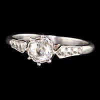 Antique Art Deco Platinum Old Mine Diamond Engagement Ring
