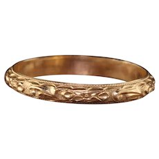 Antique Art Deco 14K Yellow Gold Engraved Wedding Band - Size 6 3/4