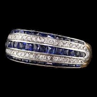 Antique Art Deco 18K Yellow Gold Platinum French Cut Sapphire Diamond Band