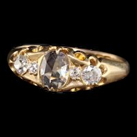 Antique Victorian English 18K Yellow Gold Rose Cut Diamond Engagement Ring