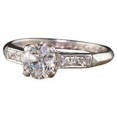 Antique Art Deco Lambert Bros Platinum Old Mine Diamond Engagement Ring