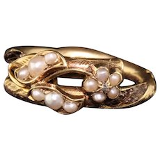 Antique Victorian 18K Yellow Gold Seed Pearl Mourning Ring