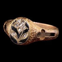 Antique Victorian 14K Rose Gold Rose Cut Engraved Enamel Mourning Ring