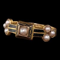 Circa 1882 - Antique Victorian 15kt Yellow Gold Seed Pearl Black Enamel Mourning Band Ring
