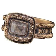 Antique Victorian 14K Yellow Gold Engraved Black Enamel Mourning Ring