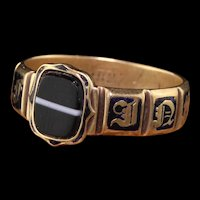 Antique Victorian 18K Yellow Gold Enamel and Onyx Engraved Ring