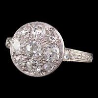 Antique Art Deco Platinum Old European Cut Diamond Cluster Engagement Ring