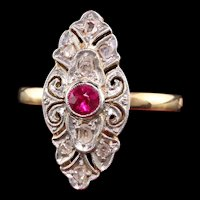 Antique Victorian 18K Yellow Gold Platinum Top Rose Cut Diamond and Ruby Ring