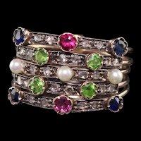 Antique Victorian 18K Yellow Gold Diamond Sapphire Ruby Demantoid Harem Ring