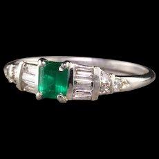 Vintage Retro Platinum Emerald and Diamond Engagement Ring