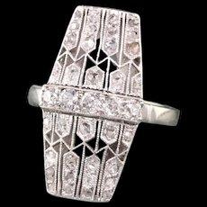 Antique Art Deco Platinum White Gold Old Mine Rose Cut Filigree Shield Ring