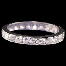 Antique Art Deco Platinum Old European Diamond Engraved Wedding Band