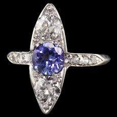 Antique Art Deco Platinum Old European Diamond and Sapphire Three Stone Ring
