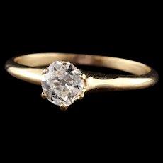 Antique Art Deco 14K Yellow Gold Old Mine Diamond Engagement Ring