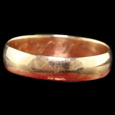 Antique Victorian 14K Yellow Gold Engraved Wedding Band - Size 4 1/4