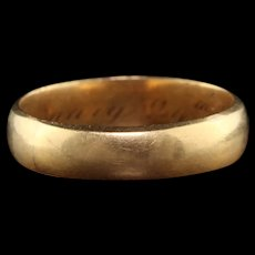 Antique Victorian 18K Yellow Gold Engraved Wedding Band - Size 4 3/4