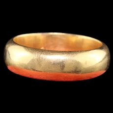 Antique Victorian 18K Yellow Gold Wide Engraved Wedding Band