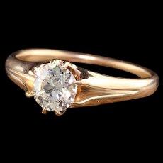 Antique Art Deco 14K Yellow Gold Old European Diamond Engagement Ring