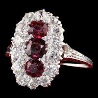 Antique Art Deco Platinum White Gold Diamond and Ruby Three Stone Ring