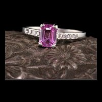 Antique Art Deco Platinum Pink Sapphire Diamond Engagement Ring