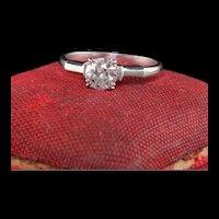 Antique Art Deco Platinum Old European Diamond Geometric Engagement Ring