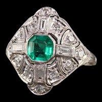 Antique Art Deco Platinum Diamond and Colombian Emerald Engagement Ring