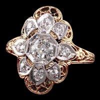 Antique Art Deco 14K Yellow Gold Old European Diamond Shield Engagement Ring