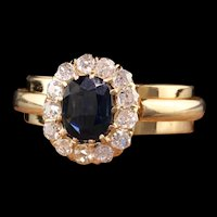 Antique Art Deco 18K Yellow Gold Sapphire and Diamond Halo Engagement Ring