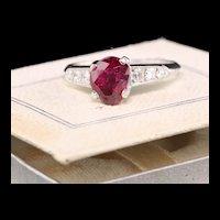 Antique Art Deco Platinum Ruby and Diamond Engagement Ring - GIA