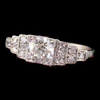 Antique Art Deco Platinum Old European Diamond Engagement Ring