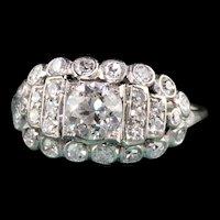 Antique Art Deco Platinum Old European Cut Diamond Engagement Ring